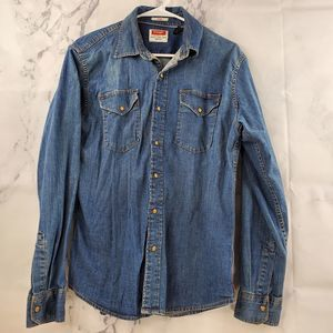 Wrangler Button Up Chambray Long Sleeve Shirt